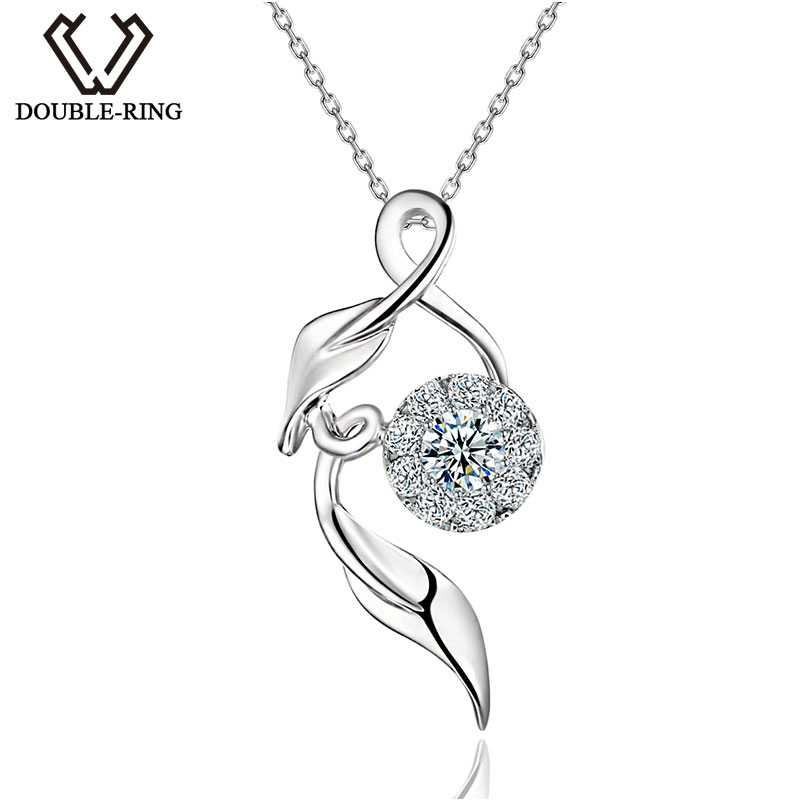DOUBLE-RING Women's Pendant Fancy Design Female Jewelry 0.11ct H/SI Diamond Pendant 18K White Gold With Silver Chain CAP01690A bk 4371 18k alloy crystal artificial fancy color diamond pendant necklace golden 45cm