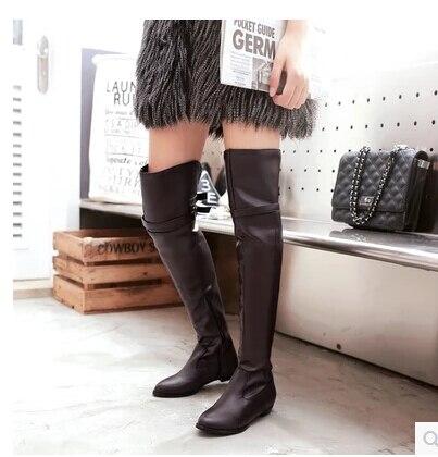 Botas Con Punta Otoño 2016 Grande Beige Altas De E Nueva marrón La Talla Baja Gama 43 Invierno Plana Para Mujer Moda Elegantes negro p800Xqwn