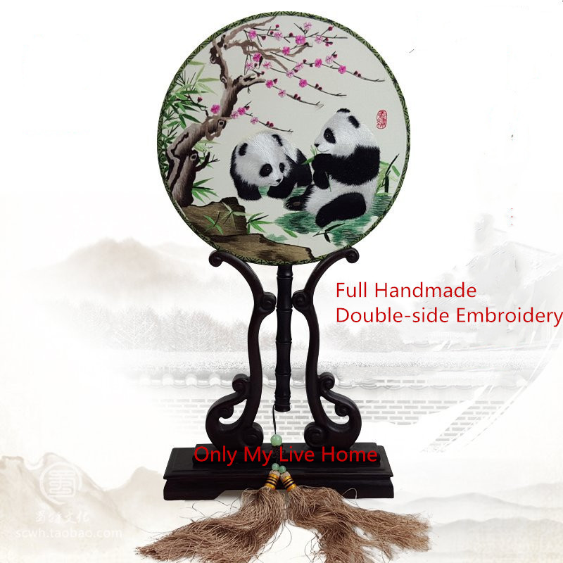 Luxury Round Decoration Chinese Panda Hand Fan Gift Natural Mulberry Silk Handmade Double-side Embroidery Ebony Handle