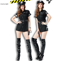 Sexy Black Female Policewoman Cosplays Women Halloween Police Costumes Carnival Purim parade Nightclub Bar Role play party dress