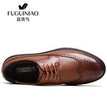 Luxury Genuine Leather Male Platform Brogue Shoes Brown