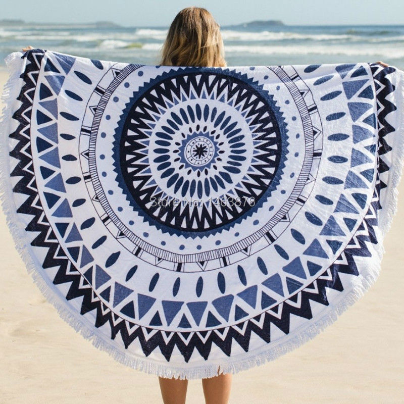 2015 New 100% Cotton Roud Bohemia Printed Tassel Knitted Beach Towel soft serviette deplage microfiber towel free shipping serviette