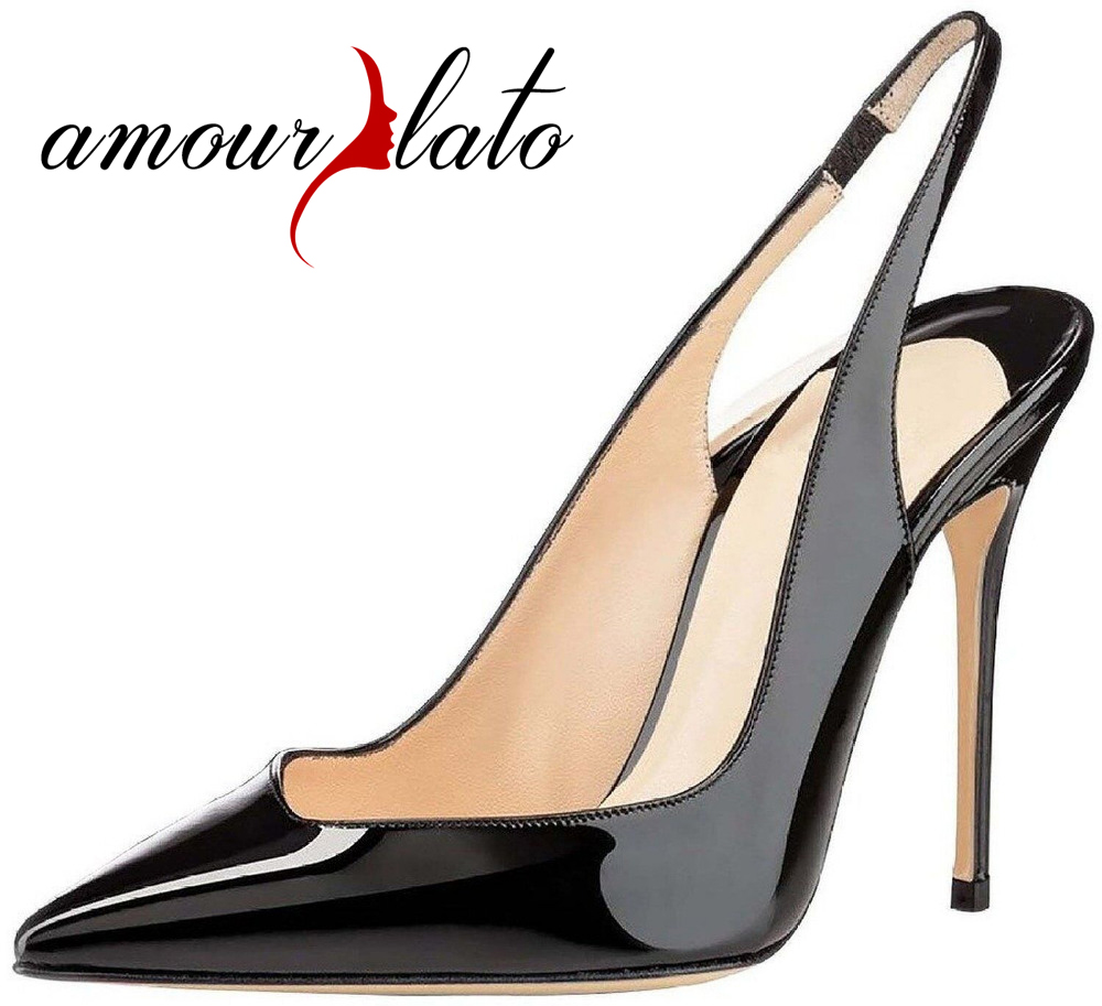 Amourplato Ladies Fashion 10CM Stiletto Slingback High Heel Pumps Handmade Cut Out Pointed Toe Party Dress Shoes Plus Size shoesofdream ladies high heel closed pointed toe solid plain pumps decoration handmade for wedding party dress stiletto shoes