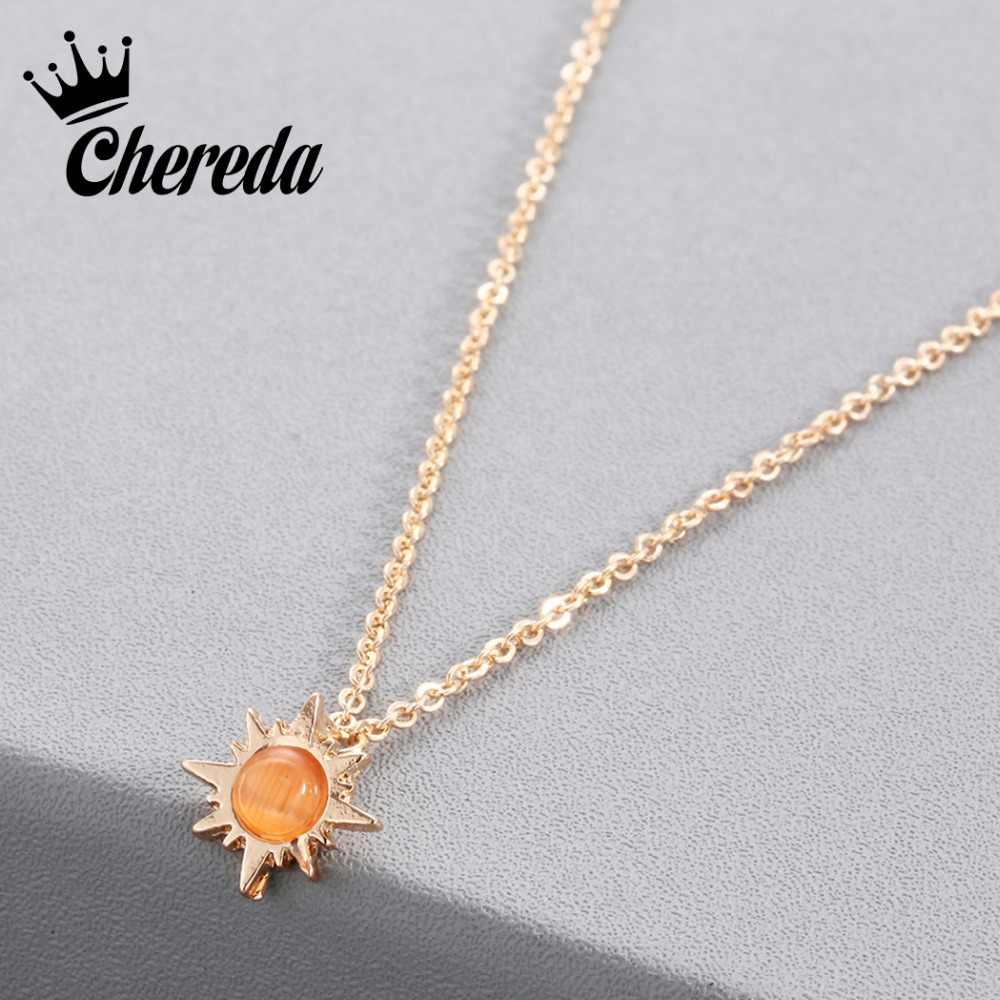 Chereda New Fashion Sunshine Necklace Pendant Sun Beam Necklaces Opal Sunburst Jewelry For Women Lady Birthday Accessories Gift