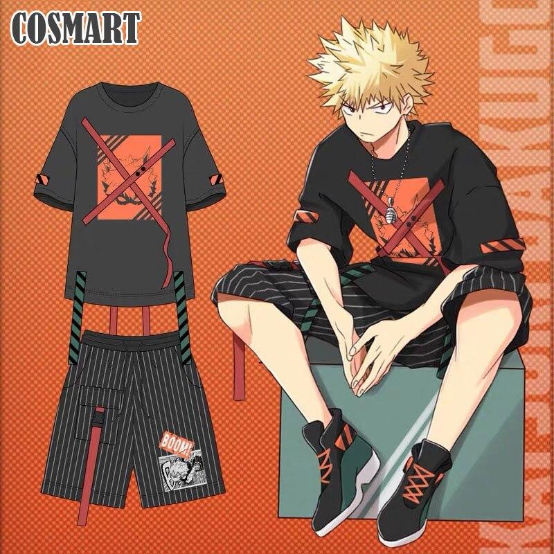 Anime boku não meu herói academia bakugou katsuki cosplay traje camiseta/calças verão t camisa uso diário unisex novo 2019 freeship