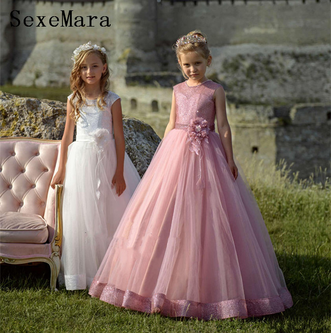 New Arrival Flower Girls Dresses for Wedding with Buttons Girls Pageant Gown Little Princess Birthday Gift Sparky Top  VestidosNew Arrival Flower Girls Dresses for Wedding with Buttons Girls Pageant Gown Little Princess Birthday Gift Sparky Top  Vestidos