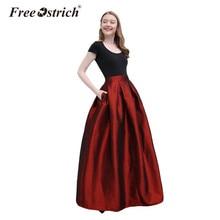 Free Ostrich Vintage Pleated Long Skirt Women Evening Skirt Solid Pocket Floor-Length Party Skirt Autumn Winter faldas mujer