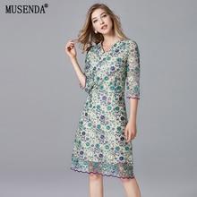 MUSENDA Plus Size Women Elegant Floral Lace V-Neck Tunic Midi Dress Autumn Female Ladies Party Office Vintage Dresses Clothing