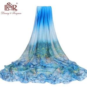 Image 4 - Bufanda de seda con estampado de verano para mujer, bufanda de gasa de gran tamaño, Pareo de playa, Sarong, capa larga con protector solar, 2020x190 cm