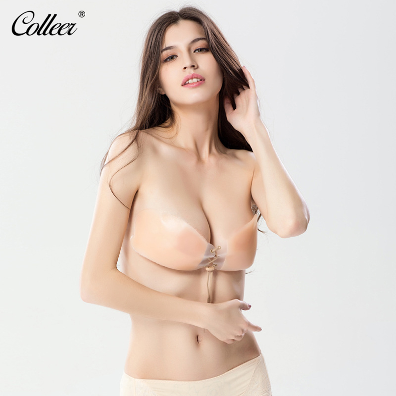 COLLEER New Sexy Push Up Seamless Bra Adhesive Silicone Backless Wedding Bralette Strapless Invisible Women Underwear