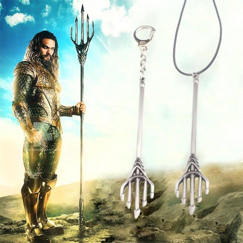 Superheros Aquaman Trident Model Keychain Necklace Cosplay Key Chain