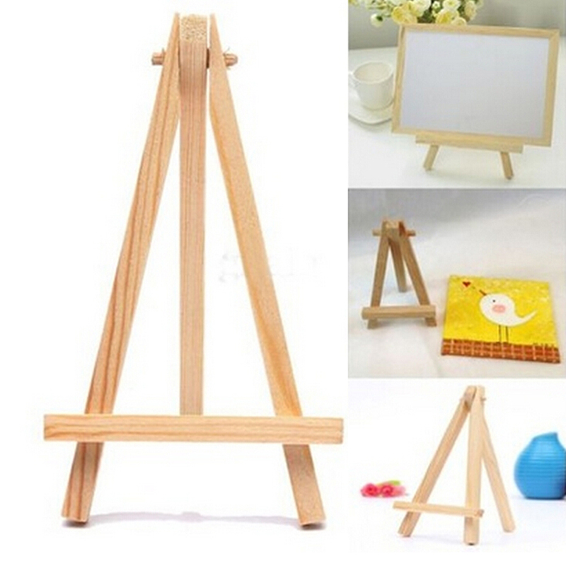 1pc  High Quality 8*15cm Mini Wood Artist Easel Triange Wedding Table Calendar Number Place Name Card Stand Display Holder DIY