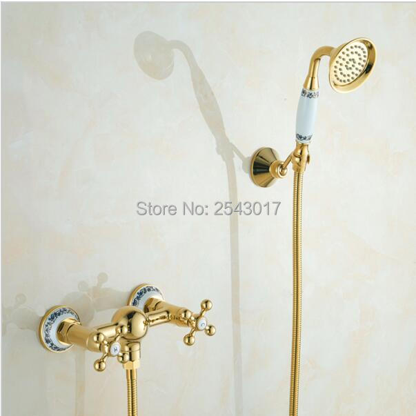 Bathroom Shower Set Golden Finish Wall Mounted Solid Brass High Quality Bath Shower Mixer Blue and White Porcelain ZR057 kcchstar the eye of god high quality 316 titanium steel necklaces golden blue