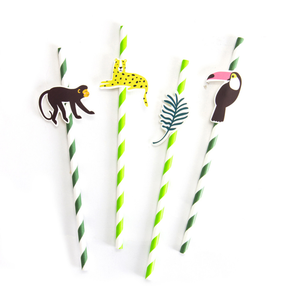Image 2 - Pack of 24 Jungle Animal Party Paper Straws with Toucan Monkey Tropical Leaves Cutouts Tropical Birthday Party Shower Supplies-in Party DIY Decorations from Home & Garden