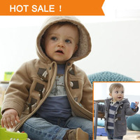 2013 Winter Fashion Horn Button Child Thickening Outerwear Overcoat Male Child Outerwear Boy Jacket Retail