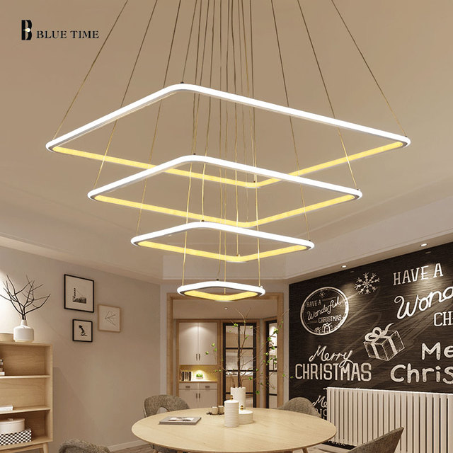 Square Modern LED Pendant Lights For Living Room Dining Room Kitchen Light  Fixtures Hanging Lamp Pendant Lamp Luminaire De Techo In Pendant Lights  From ...