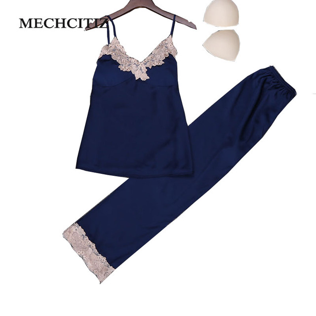 MECHCITIZ 2018 spring silk women s pajamas set homewear indoor lady lovely  cute lace pajamas pants and tops sleepwear clothing aa57cb9fe