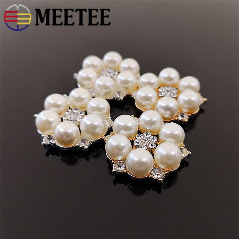 Sincere Meetee 10/20pcs 28mm Pearl Flower Buttons Diy Alloy Jewelry Accessories Clothing Bag Decor Material Drill Flower Buckle Cn007 Good Reputation Over The World Arts,crafts & Sewing Apparel Sewing & Fabric