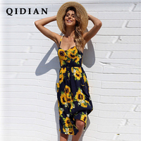 QI DIAN 2018 Spring And Summer Dress New Pattern Printed Strap Dress Women V Collar Backless