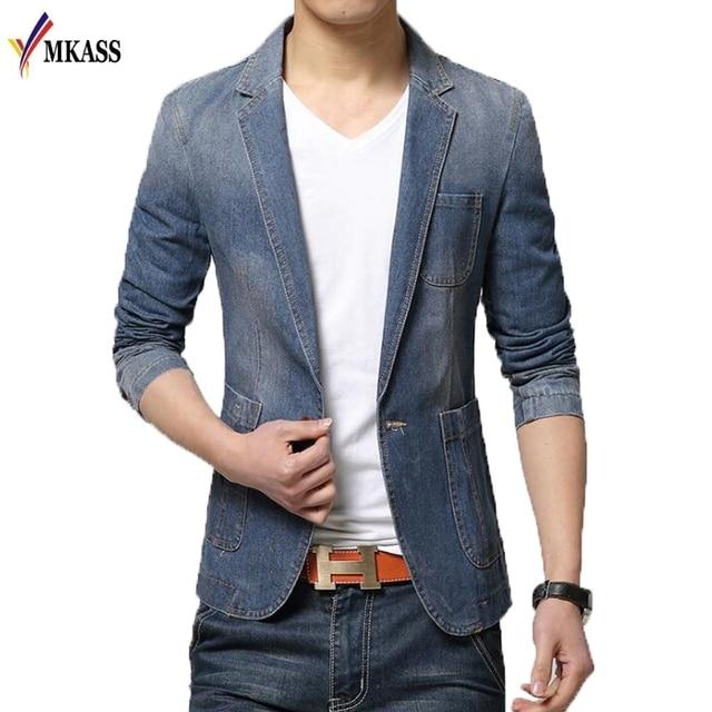 2018 Autumn Winter Blazer Men Cotton Denim Smart Casual Men Jacket