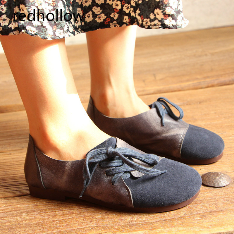 Women Flat Shoes Genuine Leather Ladies Slip on Loafers Casual Shoes for Women Round Toe Soft Flats Vintage Lace Up Shoes odetina 2017 new sewing genuine leather lace up flats spring ladies handmade flat casual shoes for women soft loafers plus size