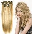 """16 """" - 32 """" 7 pcs 70 g 80 g 100 g 120 g 140 g 18/613 brasileiro virgem Remy grampos de cabelo em extensões de cabelo humano"""