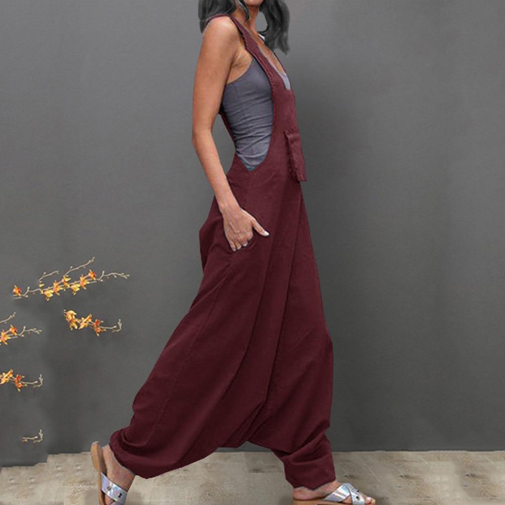 HOT Mens Womens Cotton Blend Rompers Overalls Pants Jumpsuits Trousers Plus Size