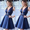 Royal Azul Coctail Vestidos de Una Línea de Cuello En V Profundo Sin Mangas Mini Vestidos De Fiesta Cortos con Cinturón Negro