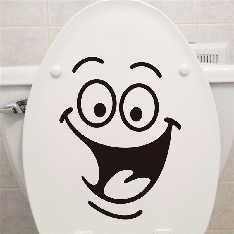 Улыбкой лицо Туалет наклейки сделай сам персонализированные мебель украшения стены наклейки холодильник стиральная машина стикер Ванная Комната Автомобиля Сувенирный