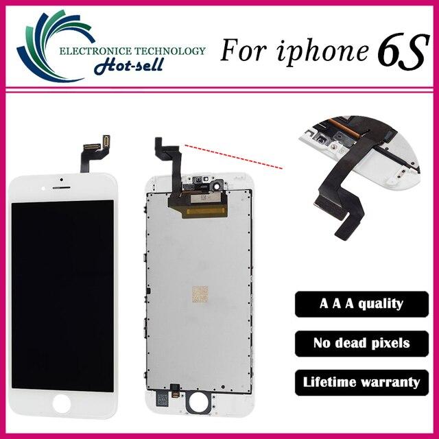 A + + + calidad 1 unids/lote prueba uno por uno para iphone 6 s pantalla lcd screenfull set asamblea blanco y negro