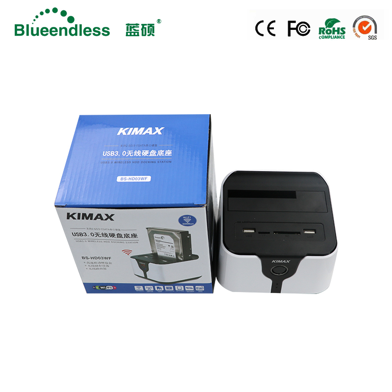 Blueendless hdd docking station Wireless Router HDD Docking Station WiFi 2.5 /3.5Sata USB 3.0 External Hard Drive Case docking station