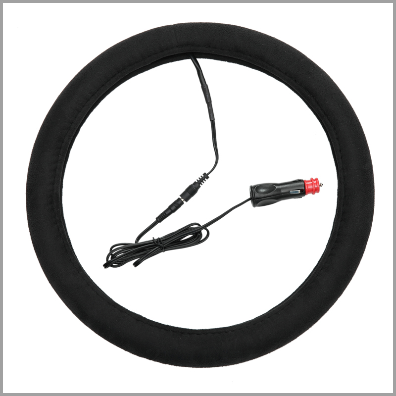 New arrival malpractice car electric heating steering wheel cover winter heated steering wheel suede fabric 38cm cigarette