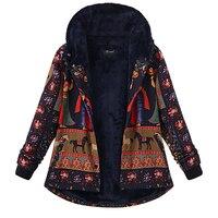 2019 Women Winter Hoodies Long Sleeve Plush Fluffy Coat Floral Printed Faux Fur Casual Hooded Warm Fleece Jacket Outwear