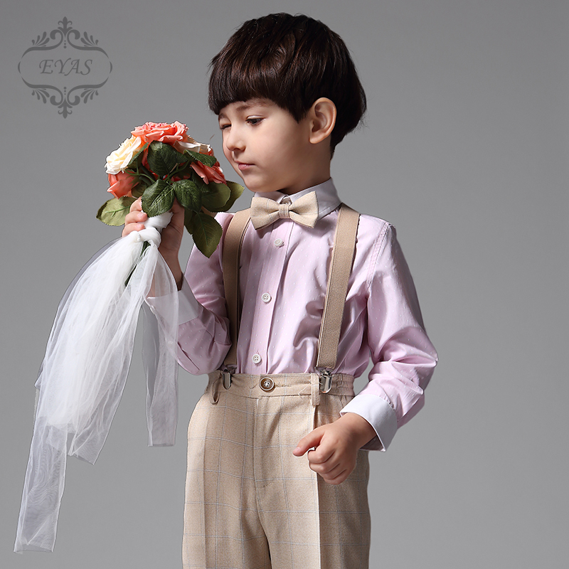 2017 Eyas Children's Clothing Ring Bearer Boy Suit Set 4-pc Outfit Tuxedo Style Pink Shirt Apricot Pants Suspenders Bowtie K5117 2017 eyas kids clothes child clothing set long sleeve suit set white ring bearer formal 4pc with shirt bowtie a5103