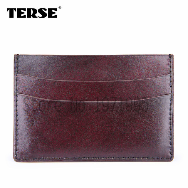 TERSE_Black Friday sale handmade leather card holder mens credit card Italian calfskin genuine leather card wallet in 4 colors