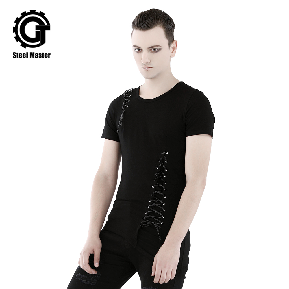 Summer New Arrival Men's Black Punk T shirts Cross Strips Tees O Neck Male's Fashion Tops