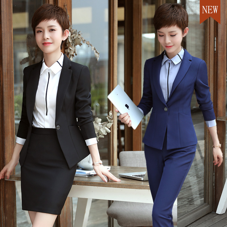 2020 automne et hiver professionnel femmes costume à manches longues mince petit entretien hôtel vêtements de travail trois costumes