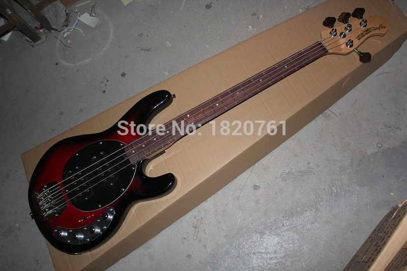 Бесплатная доставка Высокое качество Басс гитара Music Man Stingray 4 цвета красного вина для электрической бас-гитары с 9 V Батарея активные звукосниматели 1451
