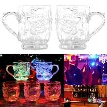 Бокал для пива es чаша с драконом LED3D Индукционная Радужная светящаяся Зеленая прозрачная рюмка es кружка Вечерние