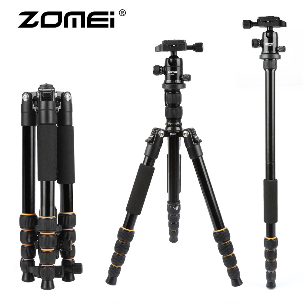 ZOMEI lightweight Portable Q666 Professional Travel Camera Tripod Monopod aluminum Ball Head compact for digital SLR DSLR camera benro a35fbr1 original tripod for slr camera reflexum professional tripod aluminum tripod functional monopod climbing stick