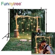 купить Funnytree rustic wedding background for photo studio nature forest flower photography backdrop photobooth photocall new printed дешево