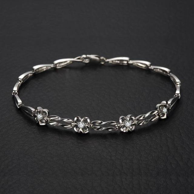 18K White Gold Diamond Bracelet 18cm Length 0.18ct/4pcs Natural Diamond Jewelry Wedding Engagement Bangle Handmade