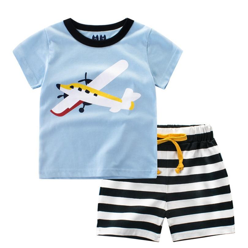 Baby Boys Sets 2018 Summer Children's Clothes Cartoon Short Sleeve T Shirt + Striped Shorts Pants Cotton Sports Suit 2-7T