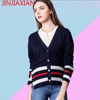 Women S Spring Leisure Color V Collar Sweater Female Short Slim Stripe Backing Cashmere Sweater Cardigan