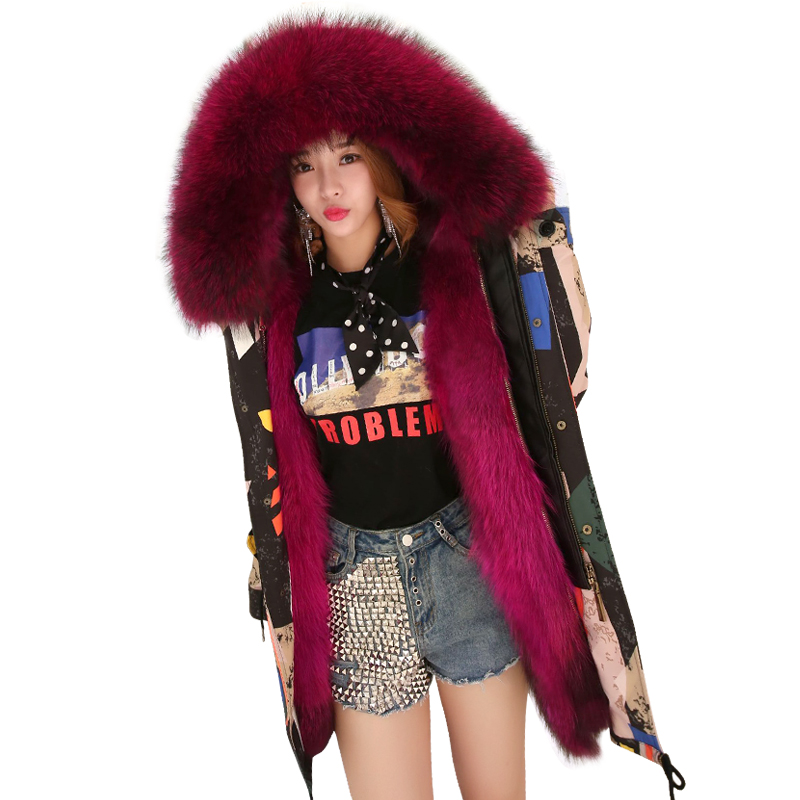 TREND Setter Winter Camouflage Fur Parka Women Black Raccoon Fur Jacket and Coat Hooded Warm Coats