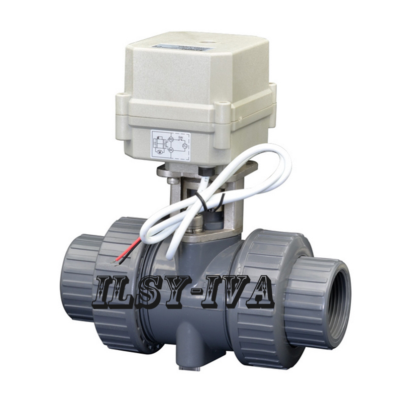 DN15 type T DC24V two Way PVC Motorized Ball Valve,Normal Close Electric Valve 1 2 dc24vbrass 3 way t port motorized valve electric ball valve 3 wires cr301 dn15 electric valve for solar heating