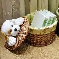 Home cartoon laundry bucket knitted storage basket rattan storage basket willow dual order box storage bucket