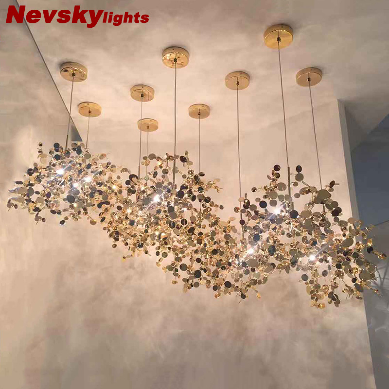 Pendant Lights stainless steel Shade Modern Dining room Pendant Lamps led luminaire suspendu Restaurant Living room Light Fixtur dia 72cm 75cm designer lighting etch shade suspension pendant lamps golden stainless steel shade pendant lights