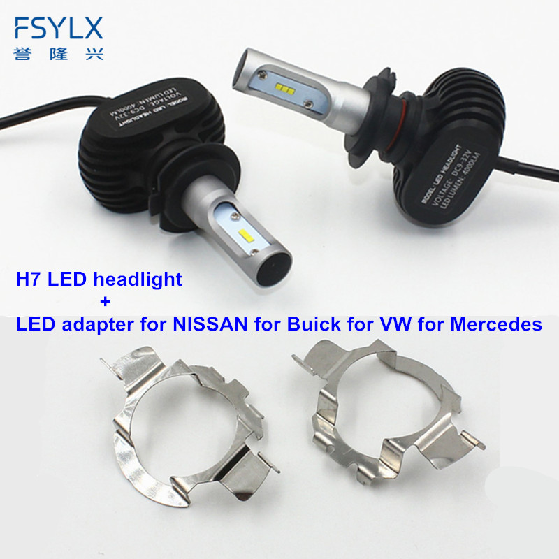 FSYLX H7 Car Headlight Bulbs with H7 adapter holder for AUDI A3 A4L A6L H7 LED headlight lamps bulb for NISSAN QASHQAI X5 F20 fsylx led h7 bulb holder adapter for hyundai veloster i30 h7 led headlight headlamp h7 base adapter for kia k4 k5 sorento ceed