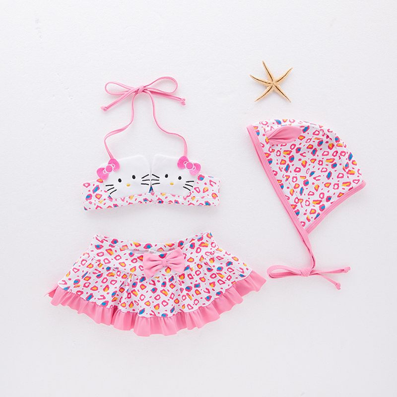 3a77850f99 Girls' Swimming Suit Hello Kitty Swimwear Girls Bathing Suits Infantil  Toddler Baby Swimsuits Skirt Style Kids Bikinis Sets 2-8T